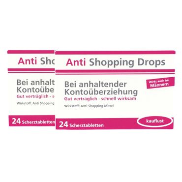 Anti Shopping Drops Scherztabletten 2er Set