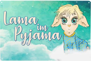 Blechschild Lama im Pyjama