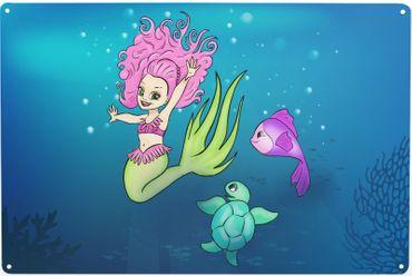 Blechschild Meerjungfrau Klein