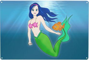 Blechschild Meerjungfrau grün