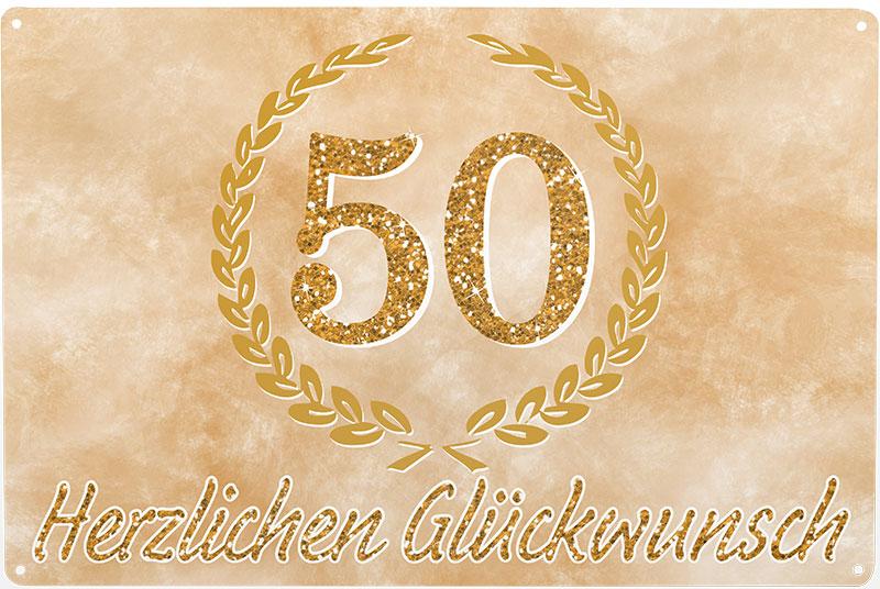 Blechschild 50 Herzlichen Glückwunsch Goldene Hochzeit Kinkerlitzchende
