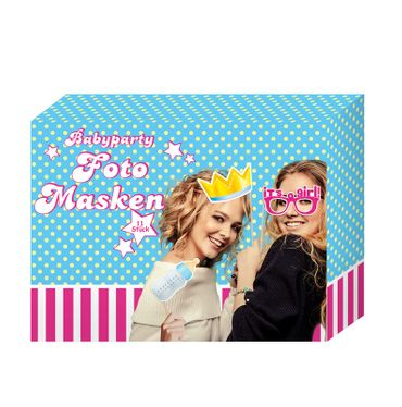 Masken für Babyparty Fotos 11er Set
