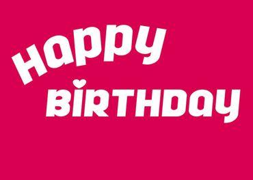 Postkarte Happy Birthday, pink