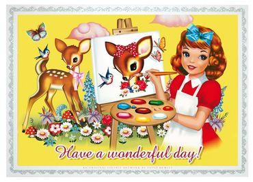 Cotton Candy Postkarte Quer Have A Wonderful Day Geschenkideen