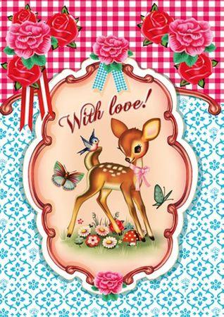 Cotton Candy Klappkarte With love Reh und Vogel