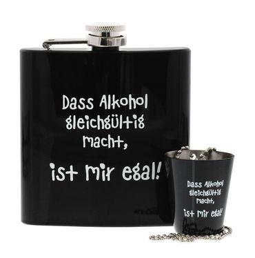 Flachmann Set Dass Alkohol gleichgültig macht, ist mir egal!