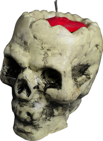 Totenkopfkerze mit blutigem Gehirn