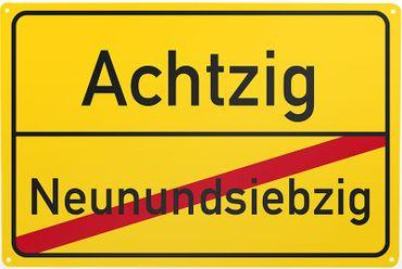 Blechschild Neunundsiebzig/ Achtzig