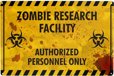 """Blechschild """"Zombie Research"""""""