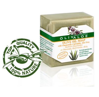 OLIVALOE 00198 - Handmade Traditional Olive Oil Soap with Chamomile, Calendula, ALOE VERA - Seife 200g