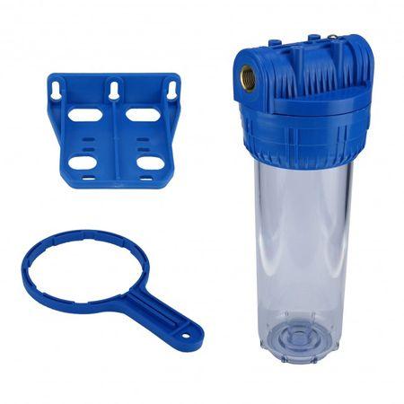 """Wasserfiltergehäuse 10"""" mit 1/2"""" IG 3-teilig Untertisch mit Entlüftung – Bild 1"""