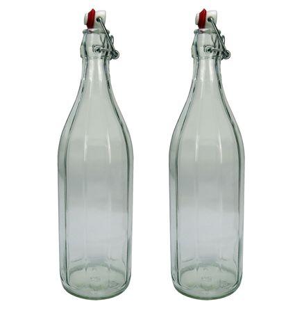 2x Design Glasflasche mit Bügelverschluss, Bügelflasche 1 Liter / 1000 ml / 100 cl – Bild 1