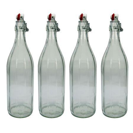 4x Design Glasflasche mit Bügelverschluss, Bügelflasche 1 Liter / 1000 ml / 100 cl – Bild 1