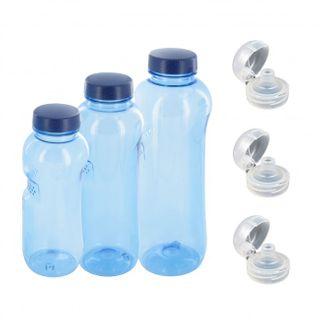 0,5 + 0,75 + 1 L Wasserflasche Tritan BPA frei + 3 x Trinkdeckel Flip Top Trinkflasche