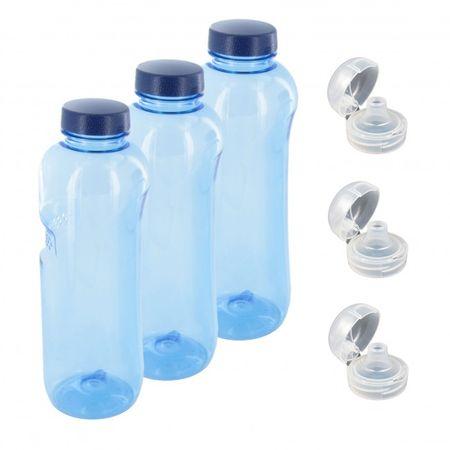 Trinkflasche 3 x 1 L Wasserflasche Tritan BPA frei + 3 x Trinkdeckel Flip Top – Bild 1