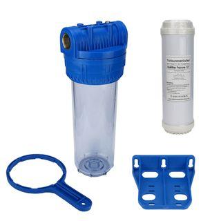 """Wasser Filtergehäuse 10"""" 3-teilig 3/4"""" IG Messing Vorfilter Pool + Kalkfilter – Bild 1"""
