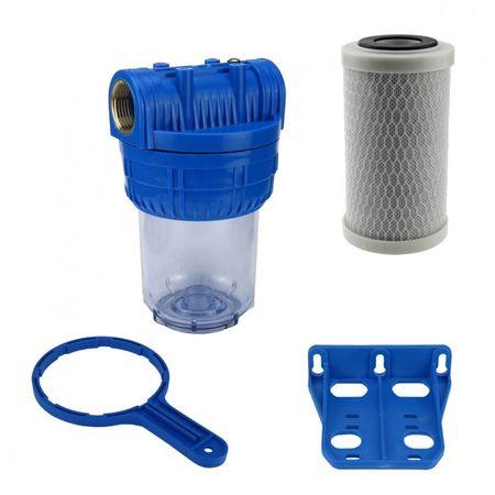 """Wasser Filtergehäuse 5"""" 3-teilig 1"""" IG Messing Vorfilter Brunnen + Aktivkohle – Bild 1"""