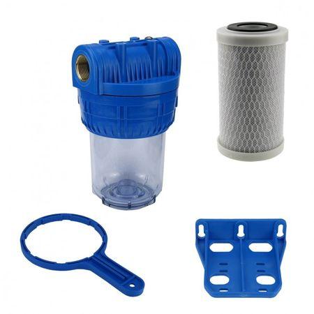 """Wasser Filtergehäuse 5"""" 3-teilig 3/4"""" IG Messing Vorfilter Pool + Aktivkohle – Bild 1"""