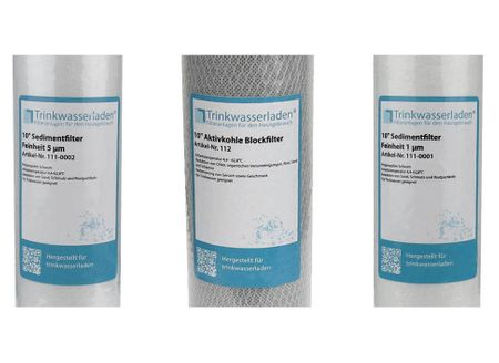 "Filter Set 10"" 3-teilig Ersatzfilter Umkehrosmose Anlage RO Sediment Aktivkohle – Bild 2"
