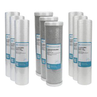 "1,5 Jahre Filter Set 10"" 9-teilig Ersatzfilter Umkehrosmose RO Sediment Aktivkohle"