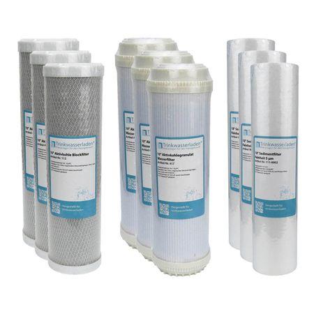 "1,5 Jahre Filter Set 10"" 9-teilig Ersatzfilter Umkehrosmose RO Sediment Aktivkohle – Bild 1"