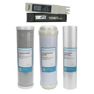 "Filterset 10"" 3-teilig + Wassertester TDS/EC - Ersatzfilter Umkehrosmose"