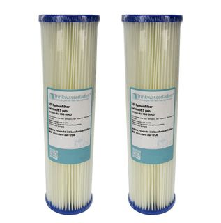 """2x 10"""" Sediment Wasserfilter Pleated Polyester 10 µm Auswaschbar Wiederverwendbar"""