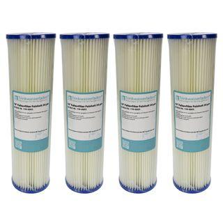 """4x 10"""" Sediment Wasserfilter Pleated Polyester 20 µm Auswaschbar Wiederverwendbar"""