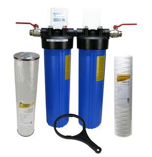 """Hauswasserfilter Brunnenfilter 20"""" Big Blue Pentek Doppel - Sediment - Eisen"""