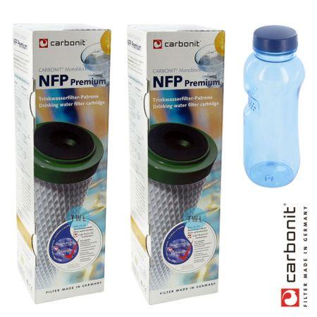 Carbonit NFP Premium 2er Set Wasserfilter + GRATIS Kavodrink Tritan Flasche Wasserflasche – Bild 1