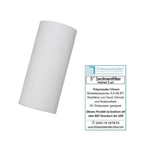 5 Zoll Sedimentfilter, Wasserfilter, Polypropylen Schaum, Filterkerze, Kerzenfilter 5 µm – Bild 1