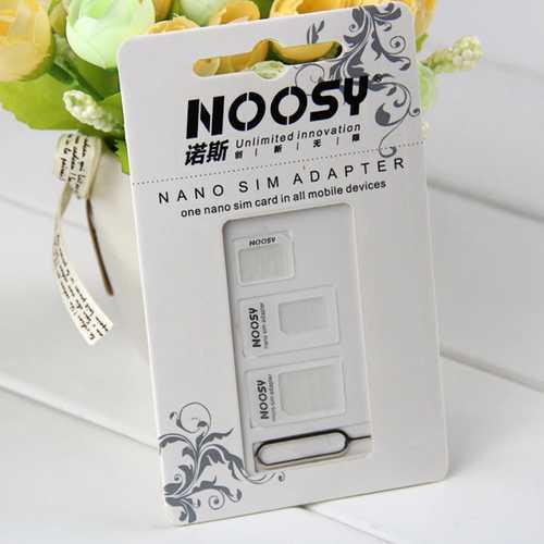 Noosy SIM Card Adapter (Nano/MicroSim) weiß + Sim Opener – Bild 1