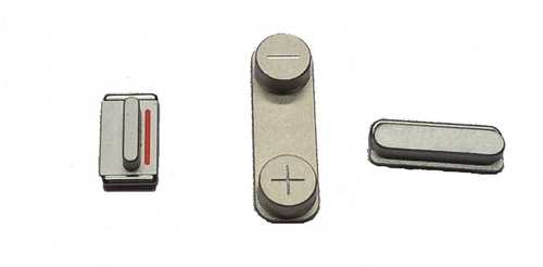Button set (volume, mute and power button) silver for white iPhone 5 + 5S