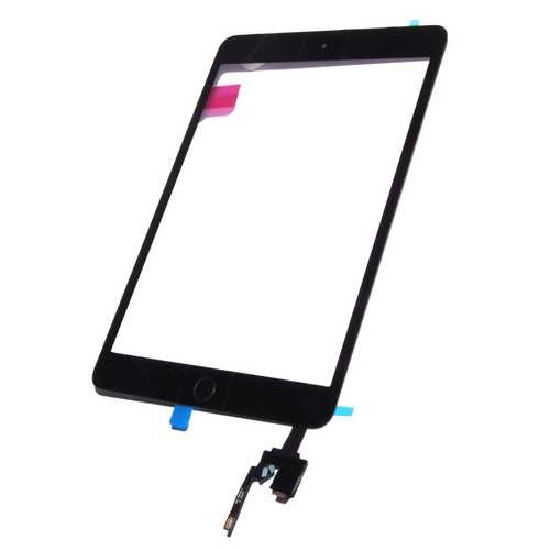Digitizer Touch pad with Front panel Glass Cover for iPad Mini 3, black. OEM-quality, with IC Chip connector – Bild 1