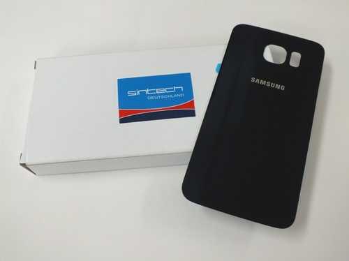 Samsung Galaxy S6 G920F Akkudeckel Glas schwarz sapphire Backcover Rückseite GH82-09548A