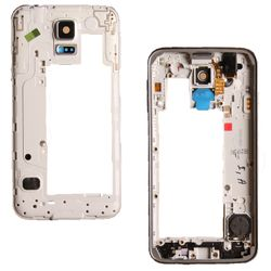 Middle frame for Samsung Galaxy S5 Neo G903f silver with headphone jack, speaker, volume flex and power button – Bild 1