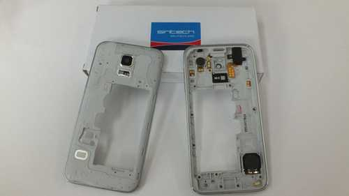 Middle frame for Samsung Galaxy S5 Mini G800f silver with headphone jack, speaker, volume flex and power button