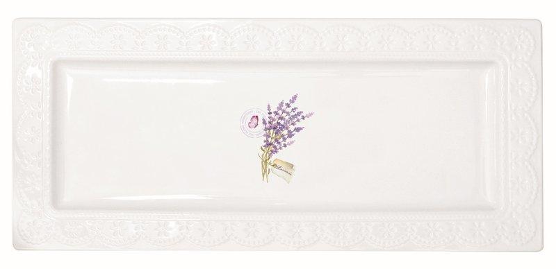 Kuchenplatte Servier-Platte aus Porzellan | La Belle Maison Lavendel |  36x16cm von Nuova R2S Easylife | spülmaschinengeeignet | in Geschenkbox