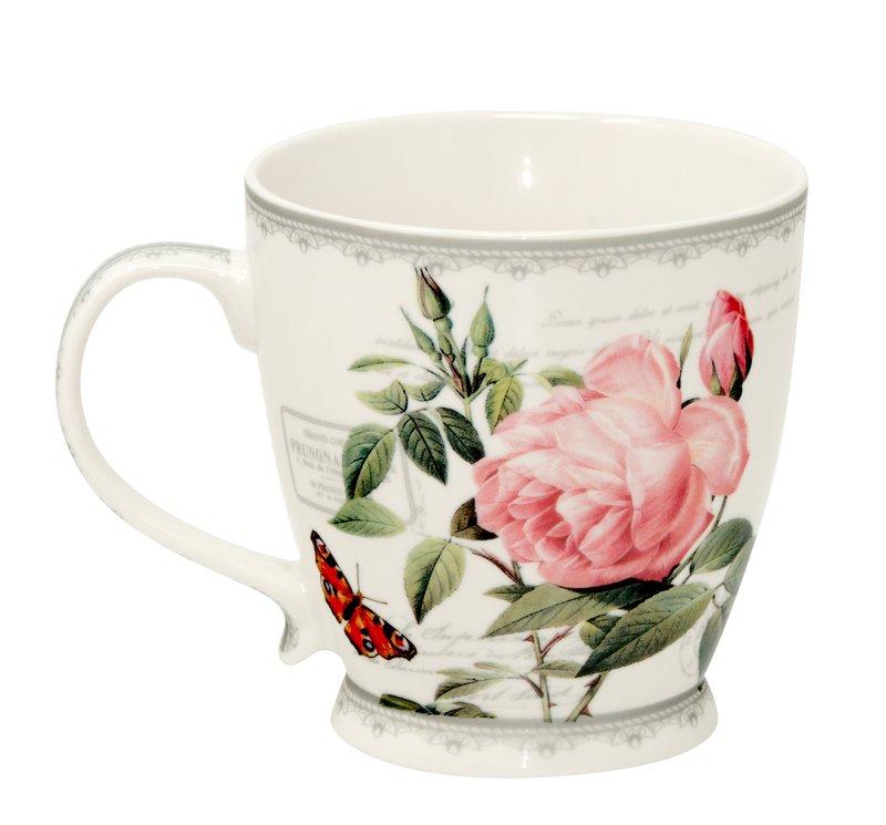 Jumbo-Tasse XXL Kaffee-Becher Redoute Rose Kaffeetasse groß Porzellan Teetasse Geschenk-Tasse Trinkbecher Mug 400 ml von Leonardo Collection  in Geschenkbox