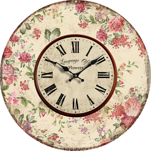 Retro Wanduhr - Language of flowers 29 cm Durchmesser