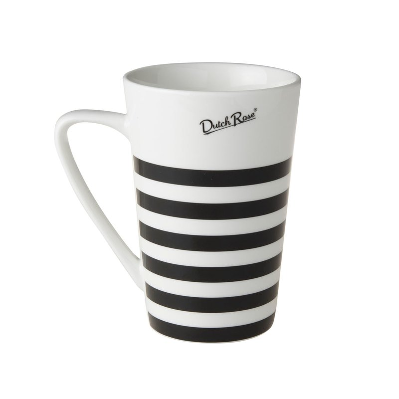 Jumbotasse Becher XXL 400 ml Stripes black and white  Kaffeebecher von Dutch Rose Amsterdam