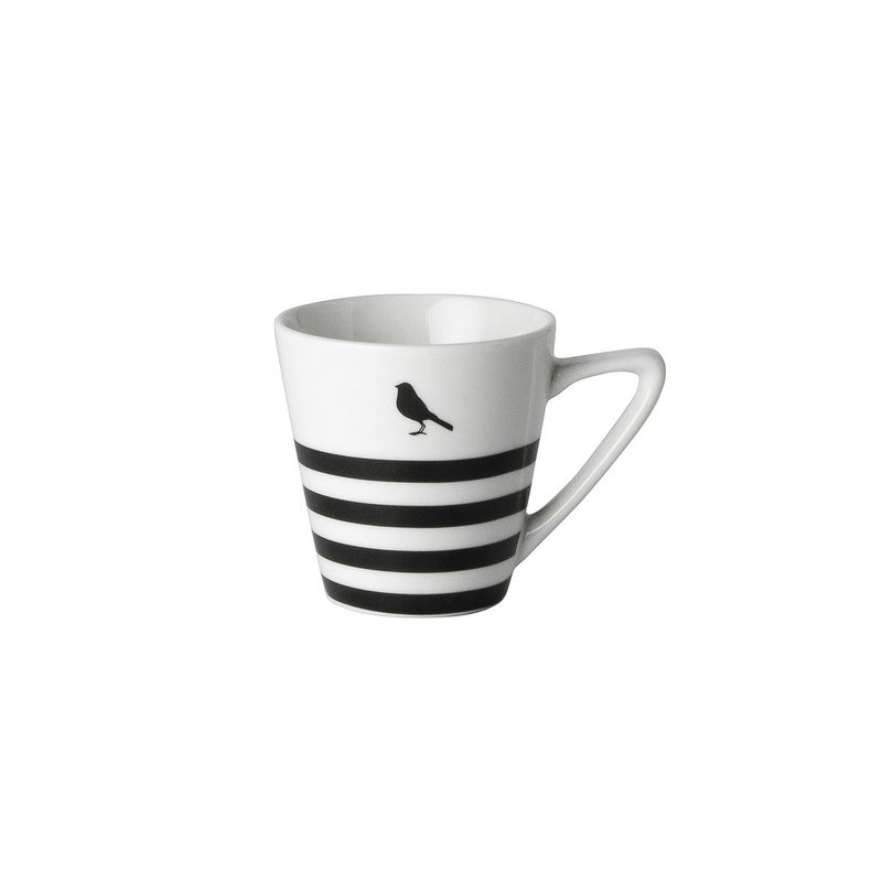 Espressotasse Stripes black and white Mokkatasse Set 2tlg. mit Untertasse Porzellan 75 ml von Dutch Rose Amsterdam