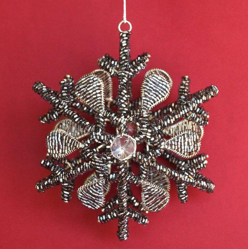 Schneeflocke Weihnachtsstern Metall Perlen schwarz 15cm Weihnachtsdeko AM-Design