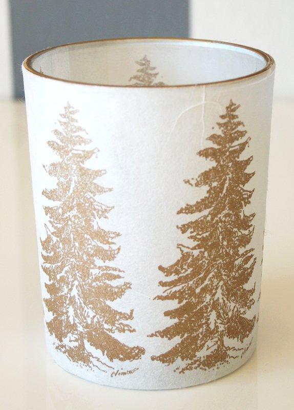 Windlicht Teelicht Weihnachten Tanne 12,5 cm hoch von AM Design