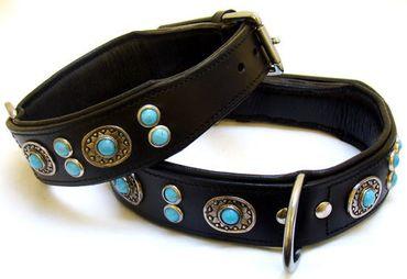 Hundehalsband aus Echt Leder, Blue Stone