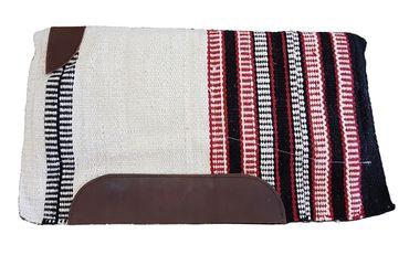Western Sattelpad aus Wolle für baumloser Sattel, Rot / Weiß