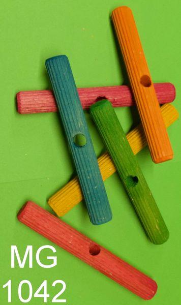 Holzdübel mit Riffelstruktur groß bunt gemischt ca. 13 cm lang mit 12 mm Loch
