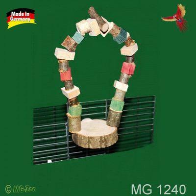 Sitzbrettscheibe für Vögel und Nager mit Knabberholzbogen und Befestigungsschraube ca. 25 cm lang ca. 10 cm breit
