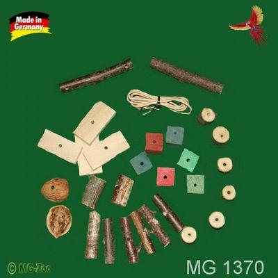 Bastelset Mini für Wellensittiche mit vesrschiedenen Naturhölzchen und farbigen Buchenklötzchen 30 Teile