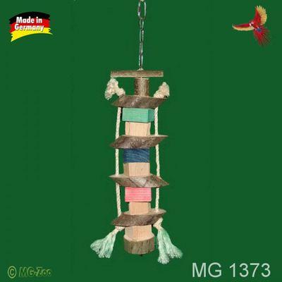 Knabberturm für Papageien aus Naturholz und Sisal an Edelstahlkette ca. 35 cm lang ca. 10 cm breit